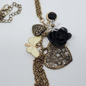 Jewelry - Long Bronze Tone Necklace Heart Flower Butterfly